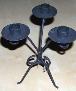 Sfeșnic negru din metal cu 3 brațe