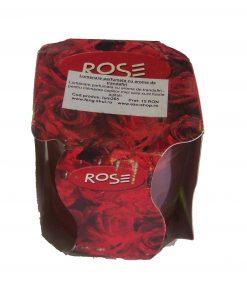 Lumanare rosie in pahar de sticla cu arome de trandafiri