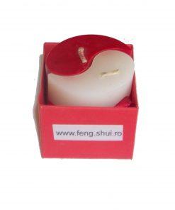 Set de 2 lumanari rosu si alb in forma de Ying Yang
