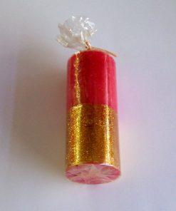 Lumanare rosie cu auriu cilindru