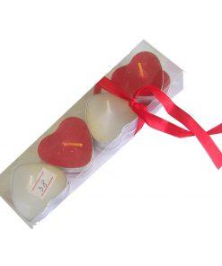 Set de 8 lumanari rosu si alb in forma de inima