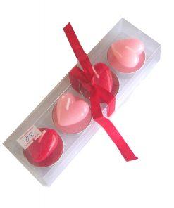 Set de 4 lumanari 3D roz si rosu