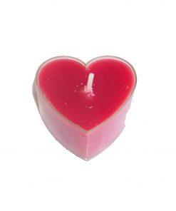 Lumanare rosie mica in forma de inima