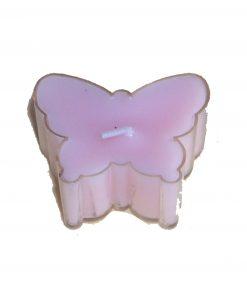Lumanare roz in forma de fluture