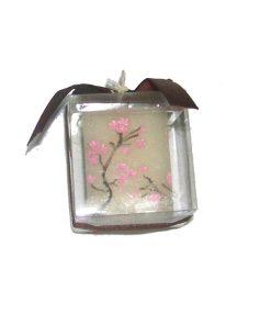 Lumanare Feng Shui cu floare de mar roz