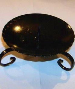 Suport negru din metal, pentru lumânare sferică, cubică sau cilindrică