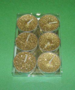 Set de 6 lumanari aurii cu sclipici pentru ritualuri de atractie