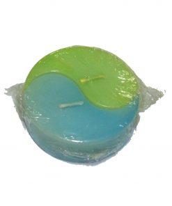 Lumanare Ying Yang verde cu albastru
