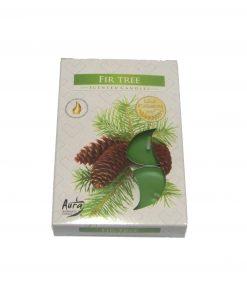 Set de sase lumanari verzi cu aroma de Fir Tree ( Brad )
